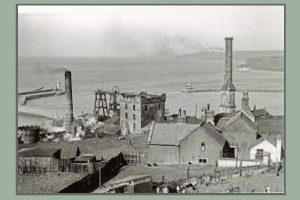Whitehaven Walkabout - view of Wellington Pit with Jonathan Swift's house in the foreground